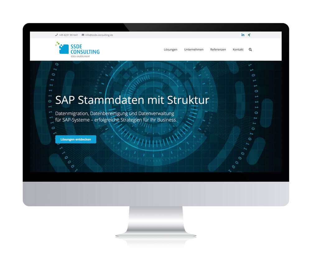 Website der SSDE Consulting GmbH