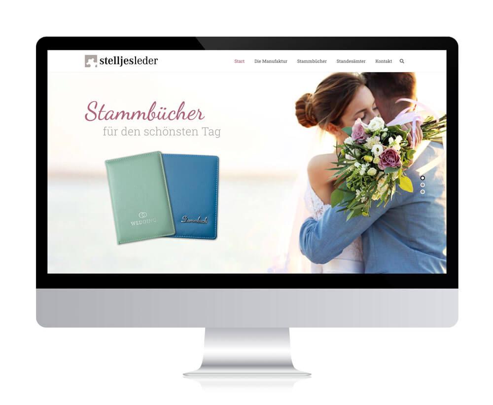 Website von Stelljes Leder – Stammbücher