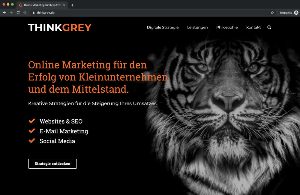 Screenshot der Website von THINK GREY Media
